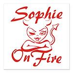 Sophie On Fire Square Car Magnet 3