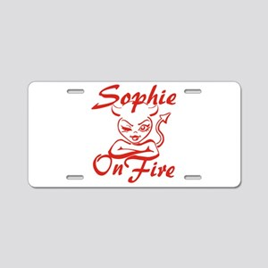 Sophie On Fire Aluminum License Plate
