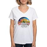 XM2-Two Coton de Tulear Women's V-Neck T-Shirt