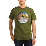 XM2-Two Coton de Tulear Organic Men's T-Shirt (dar