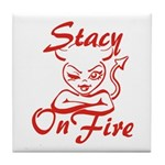 Stacy On Fire Tile Coaster