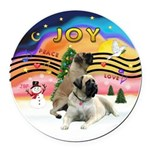 XM2-Two Bull Mastiffs Round Car Magnet