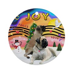 XM2-Two Bull Mastiffs Ornament (Round)