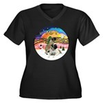 XM2-Two Bull Mastiffs Women's Plus Size V-Neck Dar