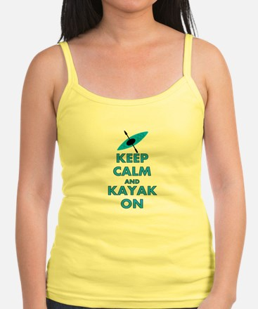 KEEP CALM AND KAYAK BLUE.PNG Jr.Spaghetti Strap