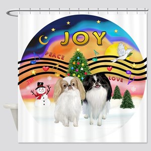 Music2-2Jap Chins (Lem+BW) Shower Curtain