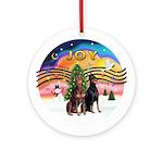 XMusic2-Two Dobermans Ornament (Round)