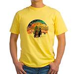 XMusic2-Two Dobermans Yellow T-Shirt