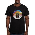 XMusic2-Two Dobermans Men's Fitted T-Shirt (dark)