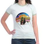 XMusic2-Two Dobermans Jr. Ringer T-Shirt