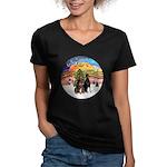 XMusic2-Two Dobermans Women's V-Neck Dark T-Shirt
