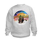 XMusic2-Two Dobermans Kids Sweatshirt