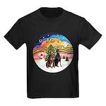 XMusic2-Two Dobermans Kids Dark T-Shirt