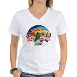 XMusic-English Bulldog (W1) Women's V-Neck T-Shirt
