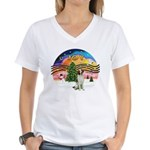XMusic2 - Brittany Spaniel Women's V-Neck T-Shirt