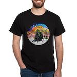 XMusic2-Two Flat Coated Retr. Dark T-Shirt