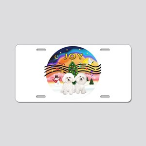 XMusic2 - Two Bichon Aluminum License Plate