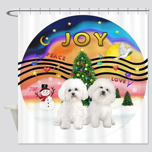 XMusic2 - Two Bichon Shower Curtain