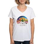 XMusic2 - Two Bichon Women's V-Neck T-Shirt
