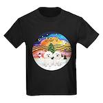 XMusic2 - Two Bichon Kids Dark T-Shirt