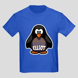 Elliot Tartan Penguin Kids Dark T-Shirt