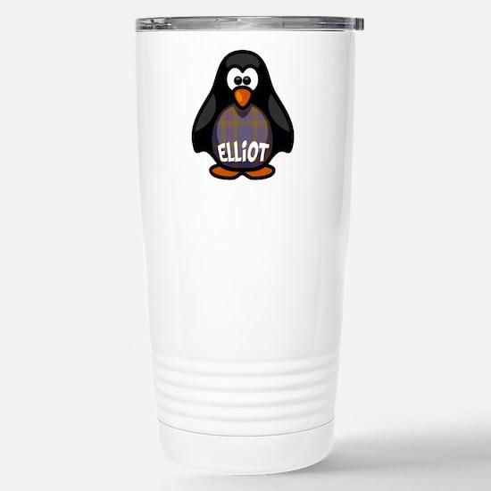Elliot Tartan Penguin Stainless Steel Travel Mug