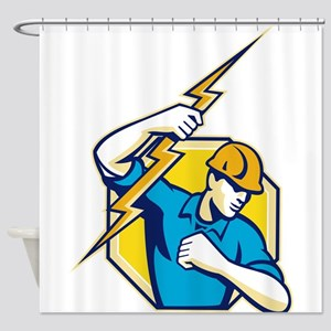Electrician Construction Worker Retro Shower Curta