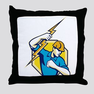 Electrician Construction Worker Retro Throw Pillow