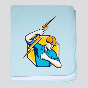 Electrician Construction Worker Retro baby blanket