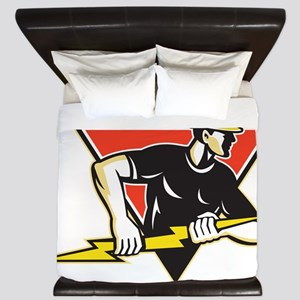 Electrician Lightning Bolt Retro King Duvet