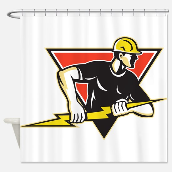 Electrician Lightning Bolt Retro Shower Curtain