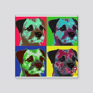 "Pop Art Border Terrier Square Sticker 3"" x 3"""