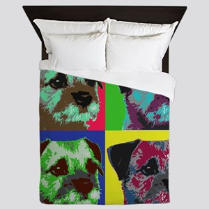 Pop Art Border Terrier Queen Duvet