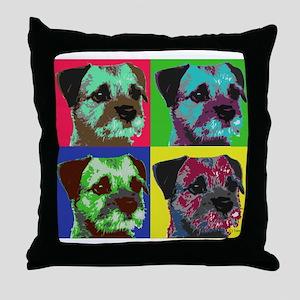Pop Art Border Terrier Throw Pillow