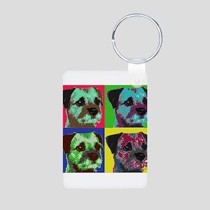 Pop Art Border Terrier Aluminum Photo Keychain