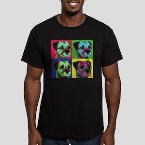 Pop Art Border Terrier Men's Fitted T-Shirt (dark)