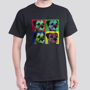 Pop Art Border Terrier Dark T-Shirt