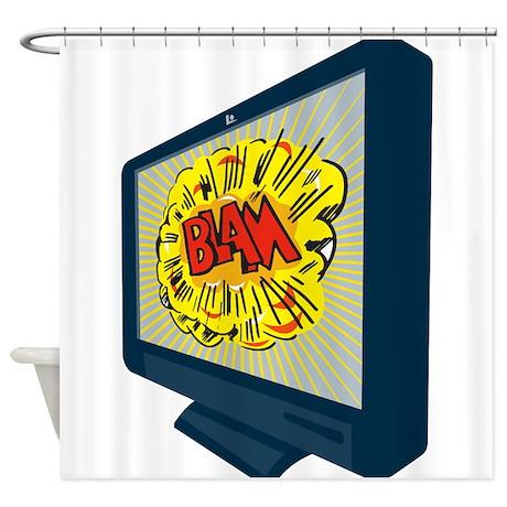 LCD Plasma TV Television Blam Shower Curtain