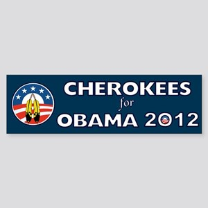 Cherokees For Obama With Feathers Sticker (Bumper)
