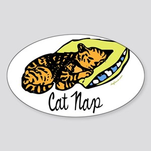 Petit somme de chat - Cat Nap Oval Sticker