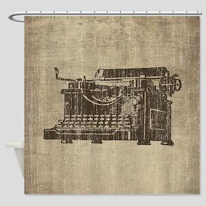 Vintage Typewriter Shower Curtain