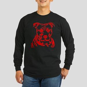 PIT BULL HEAD RED Long Sleeve Dark T-Shirt