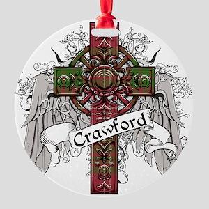 Crawford Tartan Cross Round Ornament