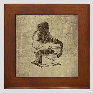 Vintage Phonograph Framed Tile