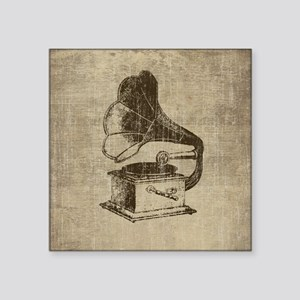 "Vintage Phonograph Square Sticker 3"" x 3"""