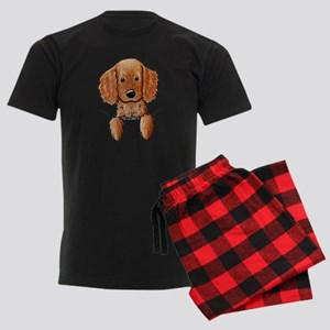 Pocket Irish Setter Pup Men's Dark Pajamas