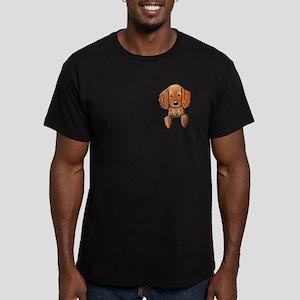 Pocket Irish Setter Pup Men's Fitted T-Shirt (dark