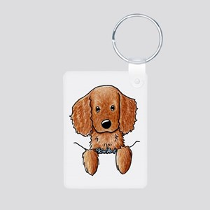 Pocket Irish Setter Pup Aluminum Photo Keychain