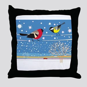 Winter Birds on a Wire Throw Pillow