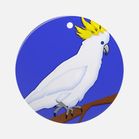 Yellow Crested Tropical Cockatoo Ornament (Round)